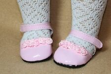 Doll Shoes fitting 18 in American Girls Pink Shoes w Pink Rosettes & Hi Socks