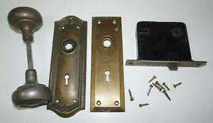 VTG Metal Door Knob Backplates Locking Mechanism Screws Lot Complete Set