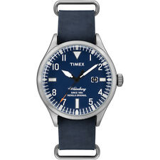 Timex The Waterbury Men's Blue Leather Stainless Steel Indiglo Watch TW2P64500