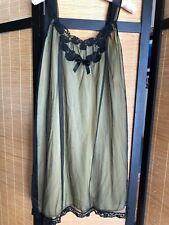 Vintage Kayser Yellow Nylon Black Sheer Chiffon Peignoir Nightgown Bust 36 Sissy