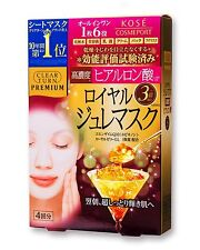Kose CLEAR TURN Premium Royal Gelee Face Mask 4-Sheet (Hyaluronic Acid)