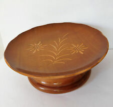Vintage music box Carved wood Edelweiss alpine flower rotating drum dish type
