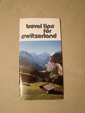 Travel Tips for Switzerland - Brochure - 1980