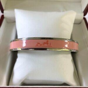 """HERMES PARIS Palladium Plated Pale Pink Enamel Horse Caleche Bracelet 7.5"""""""
