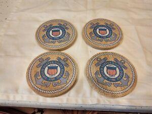 Vintage Thirsty stone Coasters Set of 4 United States 1790 Cork Base