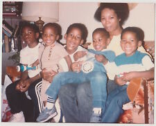 Vintage 80s PHOTO Black Woman Mom w/ Little Boys Kids On Lap
