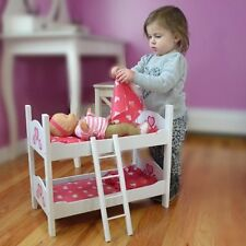 American Girl Twin Baby Doll Wooden Bed Bunk 18 Inch Dolls Stackable Pink White