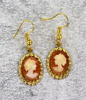 Vintage Antique Shell Cameo Earrings in 14kt Rolled Gold   Settings