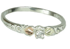 Gorgeous Petite Black Hills Gold and Sterling Silver Cz. Ring