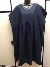 Chillma Japan OS Linen Dark Navy Oversize Ease Pleated Smock Dress