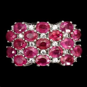 Oval Red Ruby 4x3mm White Cz 14K White Gold Plate 925 Sterling Silver Ring