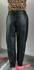 MANNING CARTELL Black PANTS s.10 with LEATHER Front PONTE Back PLUS Pockets