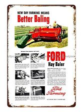 1956 Ad Ford Hay Baler Twine Maker Farming Machinery Equipment tin sign