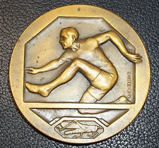 BY CONTAUX FRANCE ANTIQUE ART DECO HURDLING SPORT AWARD JUMP GRASSHOPPER STADIUM