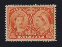 Canada Sc #51 (1897) 1c orange Diamond Jubilee Mint VF NH MNH