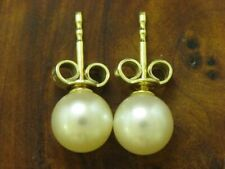 14kt 585 Yellow Gold Studs with Akoya-Pearls Trimming/Earrings/