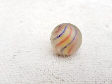 "1920s Vintage Handmade Latticinio Yellow Swirls 1.3"" Glass Marble Germany"