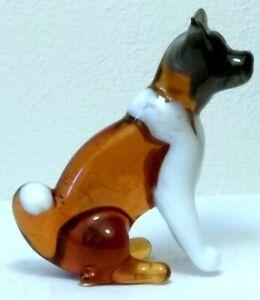 "HAND MADE BLOWN ""MURANO"" GLASS COLLECTABLE SITTING AKITA DOG DOG  FIGURINE"