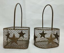 2 Small Wire Baskets with Stars Dark Gold