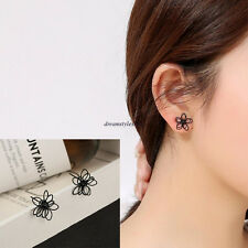 Korean Charm Women Black Flower Hollow Simple Ear Studs Earrings Jewelry Gift