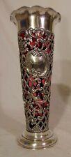 Fabulous Antique Sterling Silver Cranberry Art Glass Vase Gorham