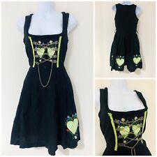 Vintage Dress Size 8 10 Retro Dirndl German Alpine Corset Milkmaid Black Green