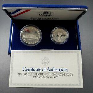 1993 S JAMES MADISON COMMEMORATIVE PROOF SILVER $1 HALF DOLLAR 2 Coin SET