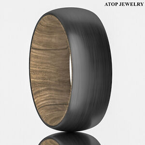 8mm Tungsten Whiskey Barrel Wood Brushed Men Wedding Band Ring ATOP Jewelry