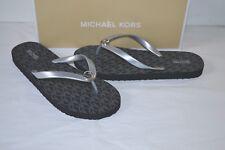 7d271c2df0cff9 Michael Kors MK Flip Flop Metallic PVC Silver Sandal Slides Sz 8