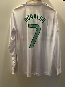 Cristiano Ronaldo Portugal Home XL Long Sleeve Shirt White, Unisex, Number 7