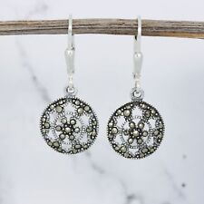 Sterling Silver 925 Marcasite Vintage Style Round Leverback Drop Dangle Earrings