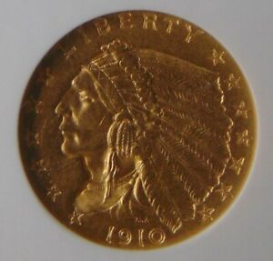 1910 INDIAN HEAD GOLD $2.5 Dollar QUARTER EAGLE, NGC MS 61, Beautiful Coin!