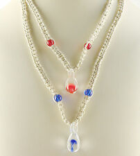 Two Hemp Necklaces With Hanging Mushroom Red & Dark Blue in a Bubble Adjustable