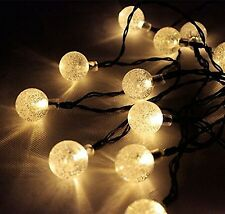SOLAR Garden LIGHTS STRING FAIRY 30 Warm White LED Crystal Globe 19ft/6M NEW UK
