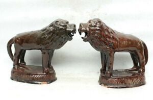 Antique Old Hand Crafted Terracotta Clay Brown Glaze Porcelain Lion Set Figure S