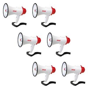 Pyle Pro Handheld Megaphone Bull Horn with Siren and Voice Recorder (6 Pack)