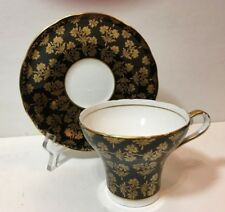 Aynsley bone china corset-shaped teacup & saucer, black/gold