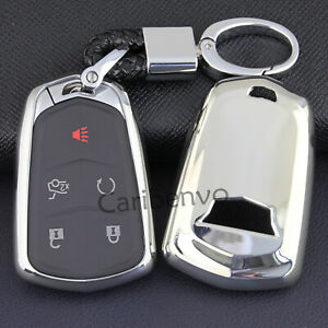Silver Finer Car Key Keychain Holder Cover For Cadillac ATS CTS XTS XT5 Escalade