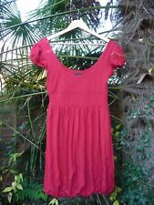 NEXT RED PARTY TUNIC TOP DRESS BUBBLE HEM CAP SLEEVES LOW SCOOP NECK - SIZE 12