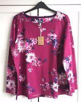 New Joules Harbour Print Jersey Top - Blush Floral sz UK 10 12 14 16 18