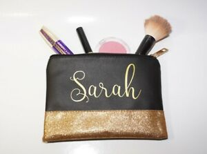 Personalised Quality PU Leather Glitter Black or Pink Make up Bag Pencil Case