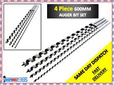 4PC EXTRA LONG WOOD AUGER SET 600MM X LONG WOOD BITS 8 12 16 24MM DRILL BIT 3300