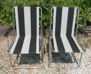Vtg Pair of Zip Dee Lawn/Camping Chairs-Black/Gray Striped-Wood Arms