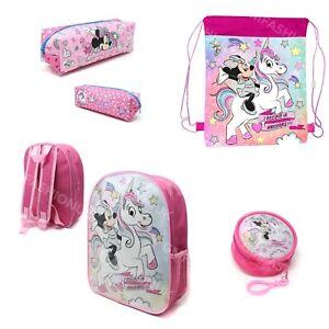 Disney Minnie Mouse Unicorn Kids Girls Backpack School PE Bag Pencil Case Purse