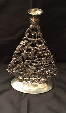 International Silver Co Silver Plated Christmas Tree Candle Holder 10 Inch