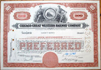 1967 Railroad Stock Certificate: 'Chicago Great Western Railway Company' - Brown