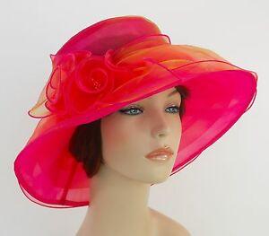 New Church Kentucky Derby Wedding  Party Organza  Dress Hat 3188 Hot Pink