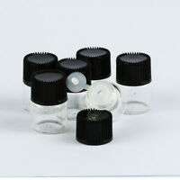 20-100Pcs 1ml Tiny Small Clear Glass Empty Oil Bottles Vial with Black Screw Cap