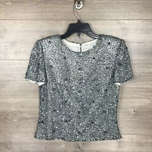 Papell Boutique Evening Women Size PS Petite Small Short Sleeve Sequin Top Gray