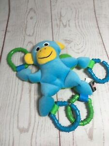 Melissa and Doug Linking Monkey Plush Toy Stroller Blue Clip On